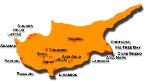 A map of Cyprus showing the major towns and some other areas of interest.